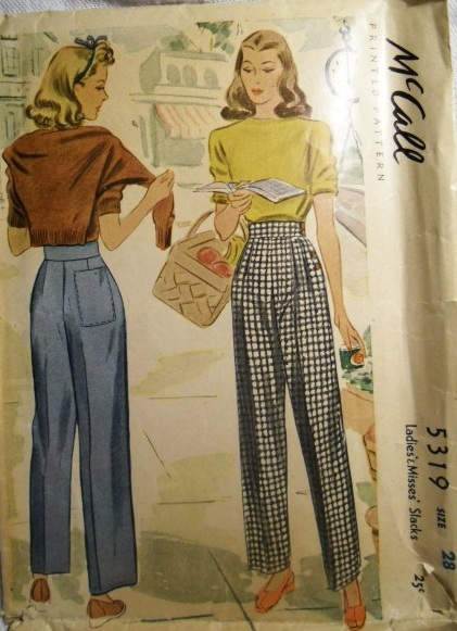 Mccall 5319 1940s Ladies Trousers Vintage Sewing Pattern