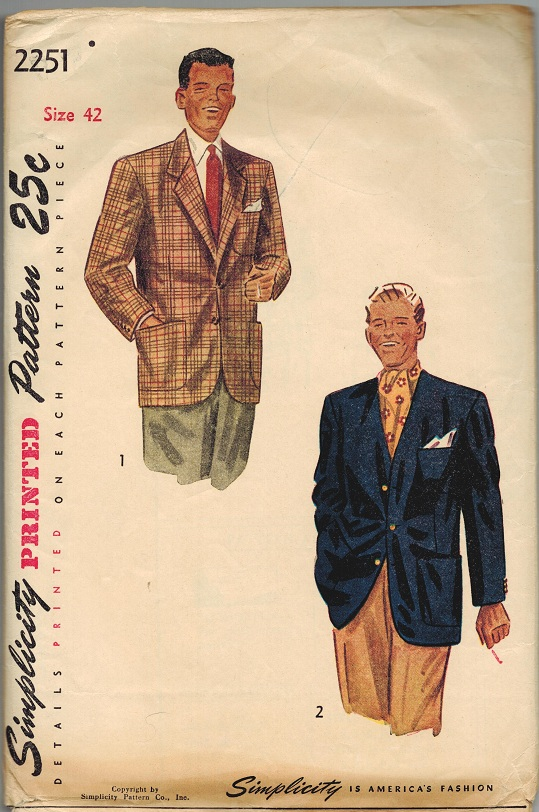 Simplicity 2251 Vintage 1940s Men\'s Suit Jacket or Cardigan Collar ...