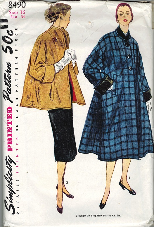 Simplicity 8490 Vintage 1950s Swing Coat Amp Topper Sewing