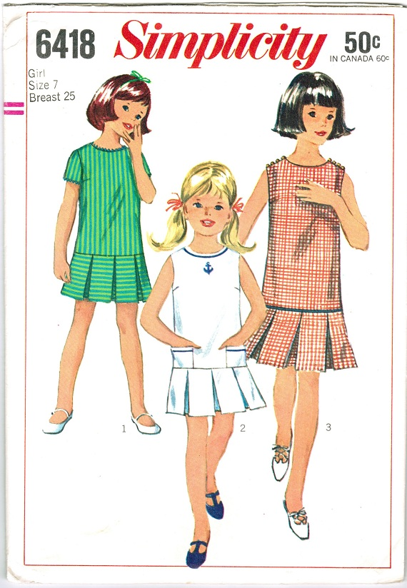 Simplicity 6418 Vintage 60s Box Pleated, Drop Waist DRESS Sewing ...