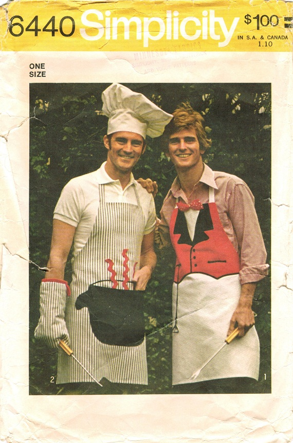 Simplicity 6440 Vintage 1970s Men\'s APRON, MITT & Chef\'s HAT Sewing ...