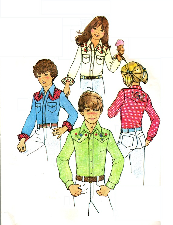 Simplicity 7244 Vintage 70s Unisex Western Shirt Sewing Pattern With